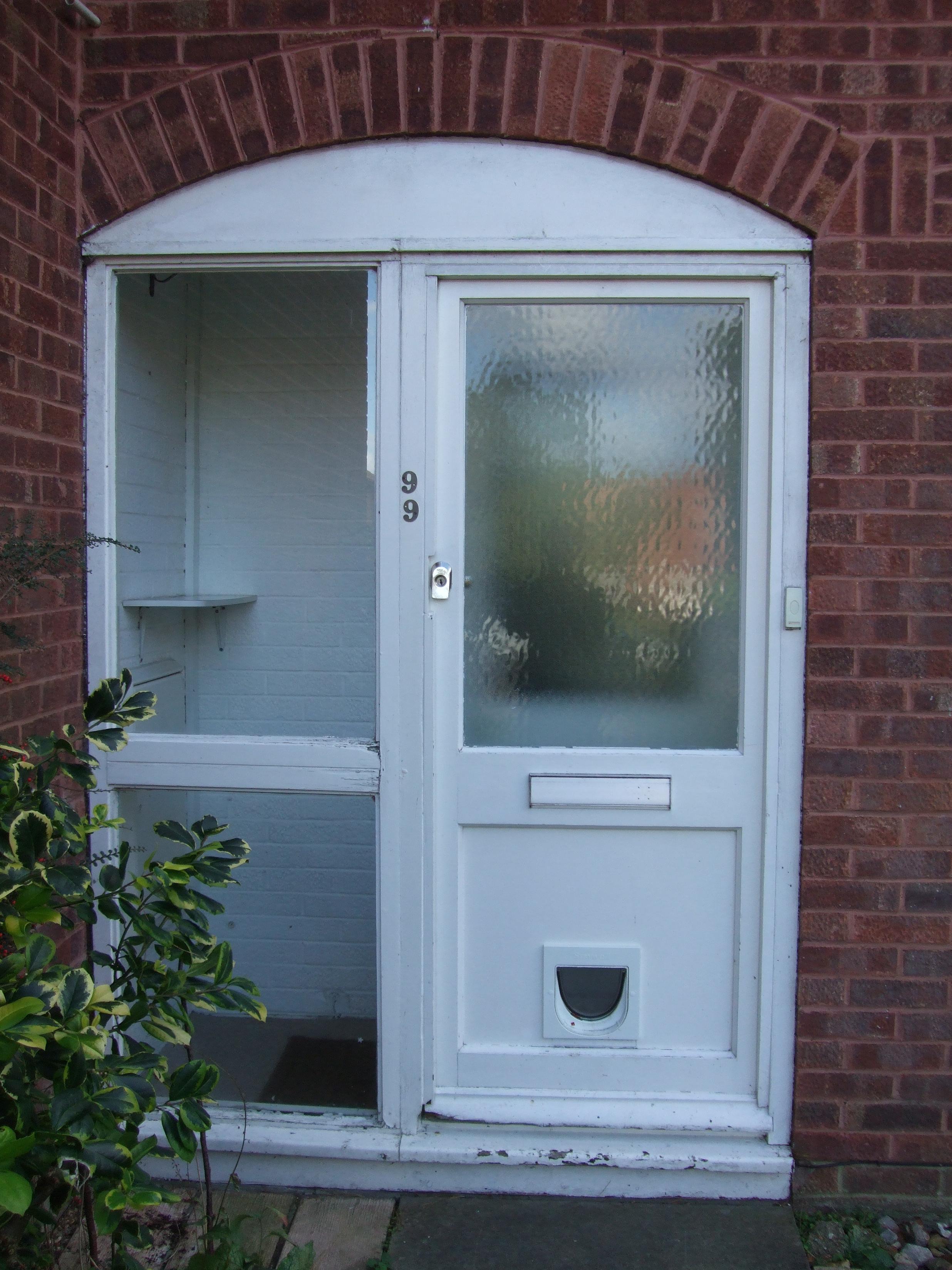 door with cat flap before